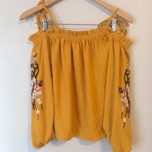 Tops - Cute Mustard Yellow Embroidered Off Shoulder Top !